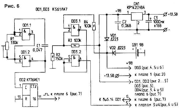 На плате расположены стабилизатор напряжения(DA1), генератор прямоугольных импульсов (ГПИ- DD1, DD2)...